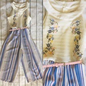 Beautees ❤️ Jumper Floral/top stripe pants Sz: 10